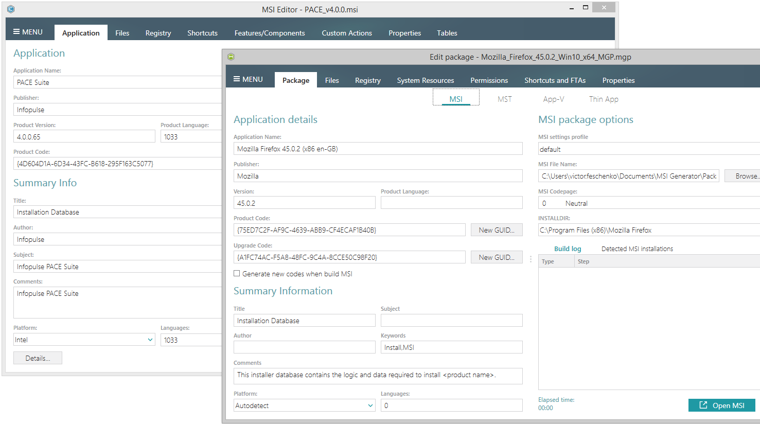 New look of the unified UI controls in version 4.1 of PACE Suite, the application packaging software