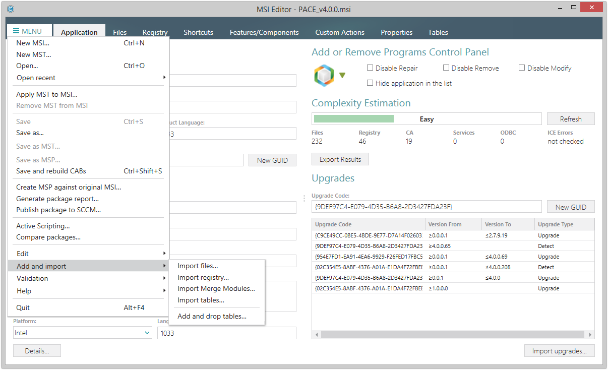 New style of menus in version 4.1 of PACE Suite, the application packaging software