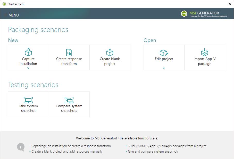 application packaging software start screen