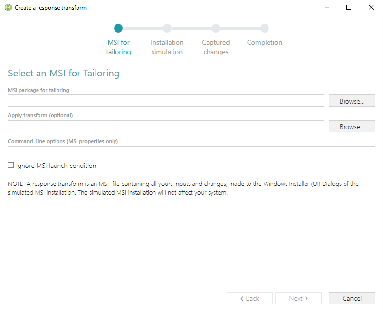 create mst file for tailoring