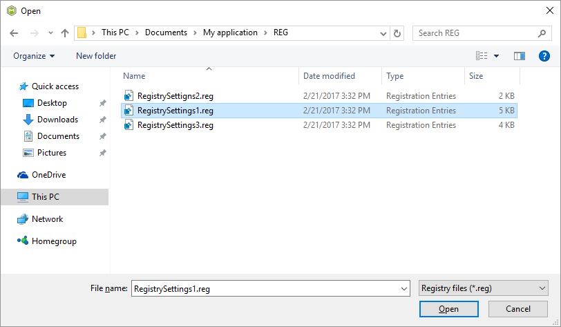 choose registry files
