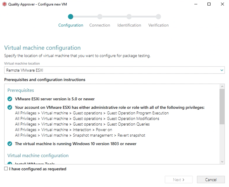 configure vm for application readiness testing